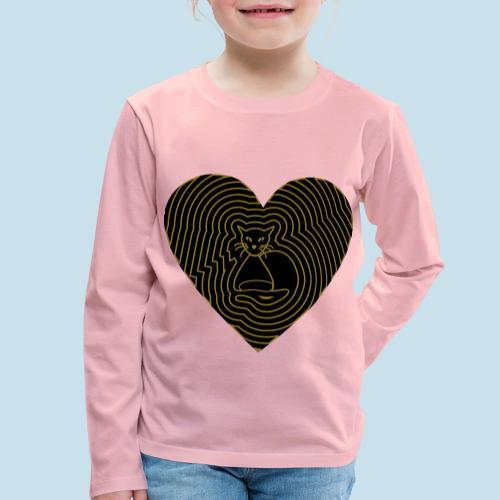 Katzen Herz Spirale 2 Färbig - Kinder Premium Langarmshirt