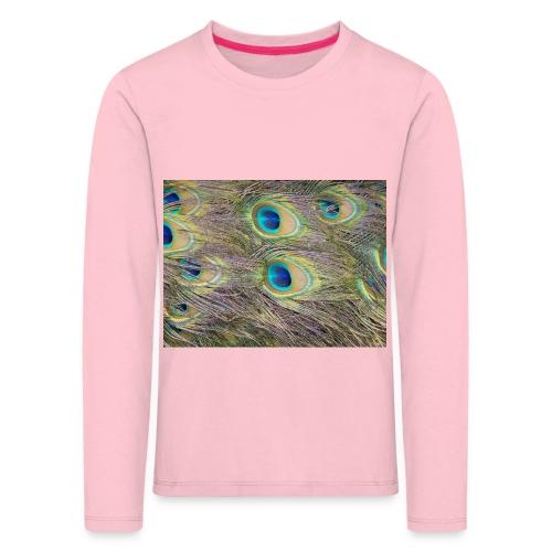 Peacock feathers - Lasten premium pitkähihainen t-paita