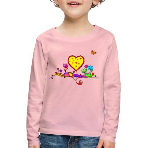 Blumengruß mit Herz - Kinder Premium Langarmshirt
