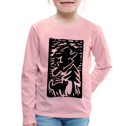 Hexe mit Katze - Kinder Premium Langarmshirt