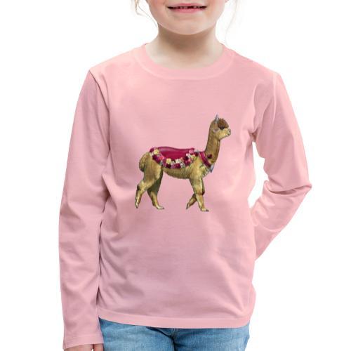 VINTAGE LAMA BLOEMEN - Kinderen Premium shirt met lange mouwen