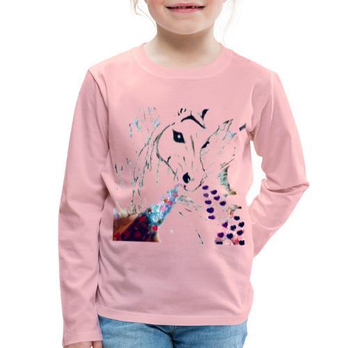 Unicorn met hartjes - Kinderen Premium shirt met lange mouwen