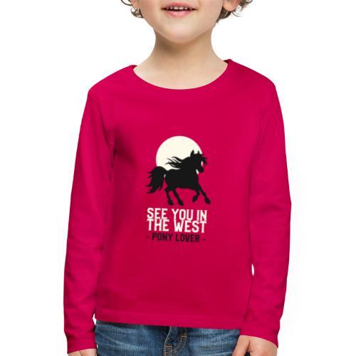 Silhouet pony design voor ponyliefhebbers - Kinderen Premium shirt met lange mouwen