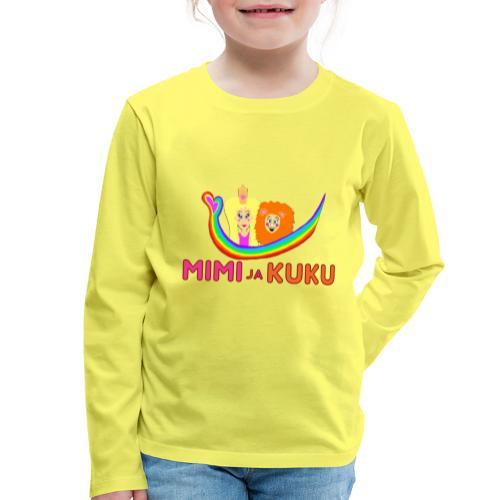 Mimi ja Kuku- sateenkaarilogolla - Lasten premium pitkähihainen t-paita
