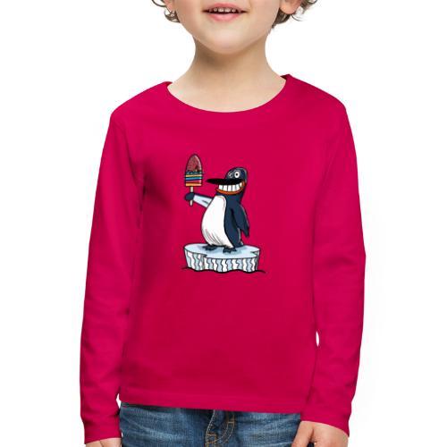Funny Penguin Icecream Kids Smile: Penguin Ice - Maglietta Premium a manica lunga per bambini
