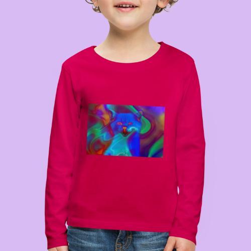 Gattino con effetti neon surreali - Maglietta Premium a manica lunga per bambini