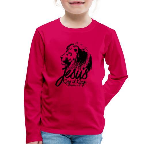LION - JESUS KING OF KINGS // Black - Kids' Premium Longsleeve Shirt