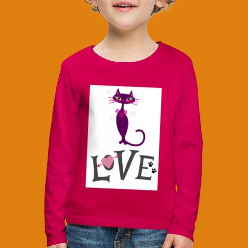 t-shirt cat love - Kids' Premium Longsleeve Shirt