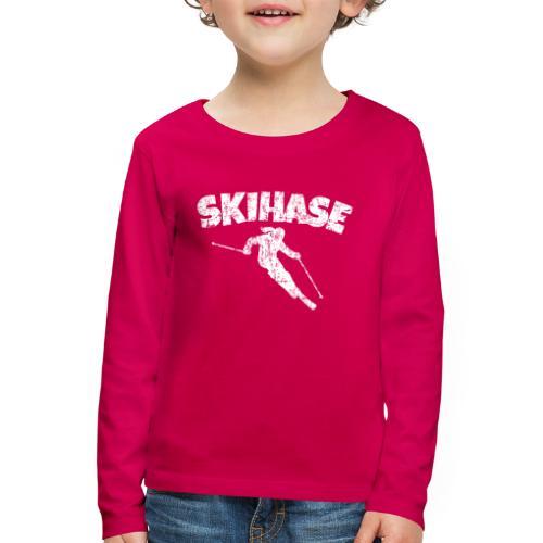 Skihase (Vintage/Weiss) Ski Skifahrerin - Kinder Premium Langarmshirt