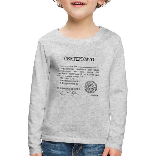 1.07 Certificato Piu Generico (Aggiungi nome) - Maglietta Premium a manica lunga per bambini