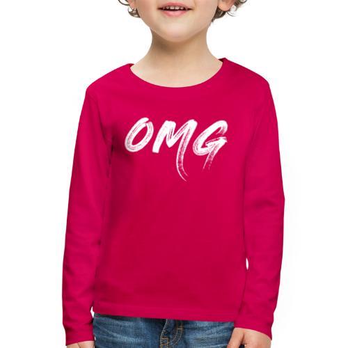 OMG, valkoinen - Lasten premium pitkähihainen t-paita