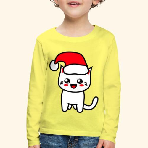 Kawaii Kitteh Christmashat - Kinder Premium Langarmshirt