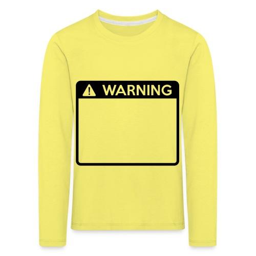 Warning Sign (1 colour) - Kids' Premium Longsleeve Shirt