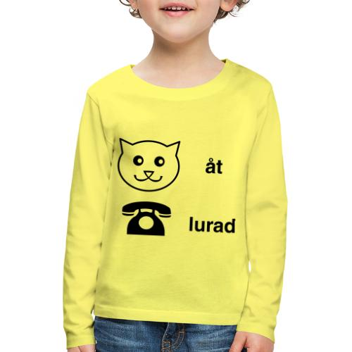 Katt åt telefon - Långärmad premium-T-shirt barn