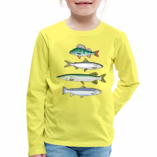 FOUR FISH - Ahven, siika, hauki ja taimen tuotteet - Lasten premium pitkähihainen t-paita