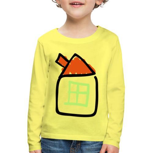 House Line Drawing Pixellamb - Kinder Premium Langarmshirt