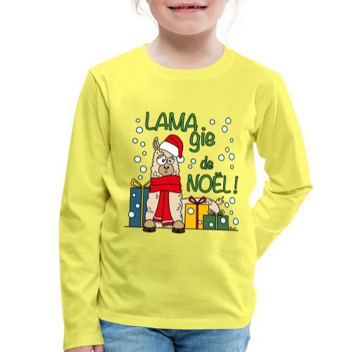 Lama, Magie de Noël, Happy Christmas, Pull moche - T-shirt manches longues Premium Enfant