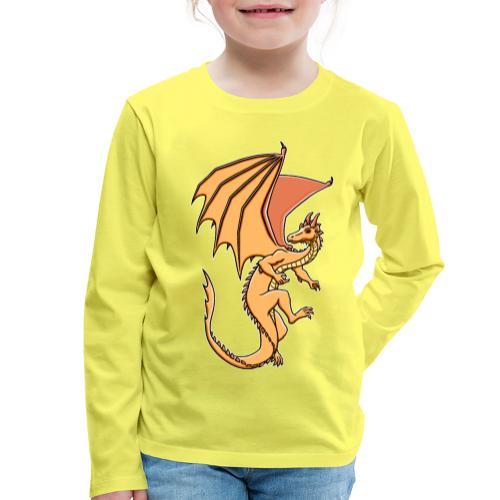 Drache, orange - Kinder Premium Langarmshirt