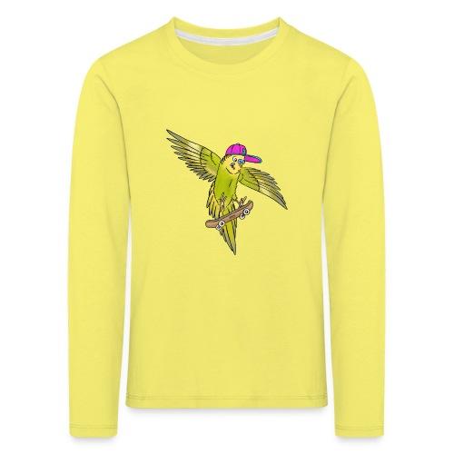 Skateboard Wellensittich (grün, cap neon) - Kinder Premium Langarmshirt