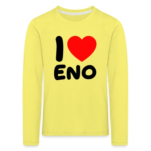 I love Eno / musta - Lasten premium pitkähihainen t-paita