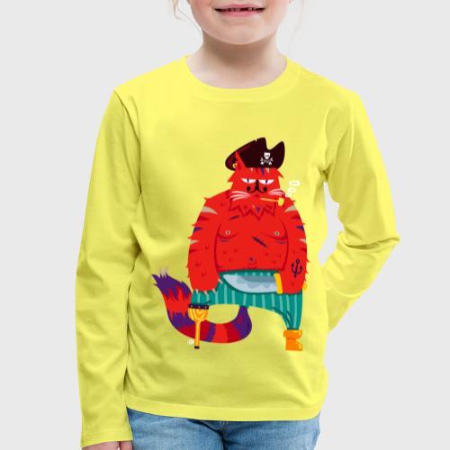Chat Pirate Barbe-Rousse - T-shirt manches longues Premium Enfant