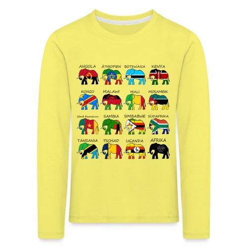 ELEFANTEN AFRIKAS mit Flaggen - Kinder Premium Langarmshirt