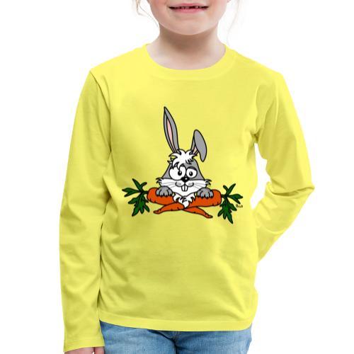 Lapin avec carottes, végétarien, végan - T-shirt manches longues Premium Enfant