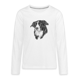 border collie S - Teenager premium T-shirt med lange ærmer