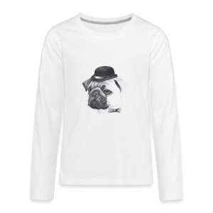 pug with bowler - Teenager premium T-shirt med lange ærmer