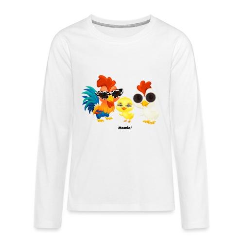 Kurczak - autorstwa Momio Designer Emeraldo. - Koszulka Premium z długim rękawem dla nastolatków