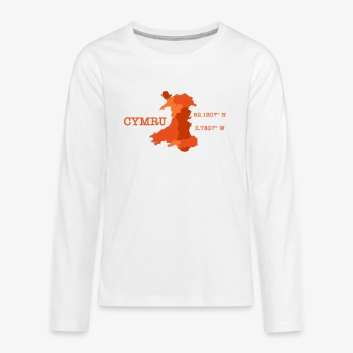 Cymru - Latitude / Longitude - Teenagers' Premium Longsleeve Shirt