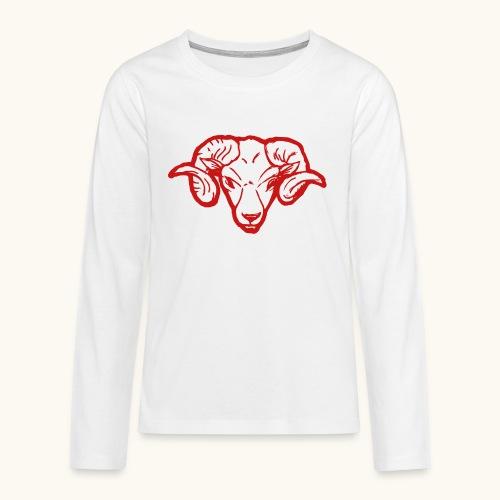 Roter Widderkopf Rammbock Geschenkidee Teufel - T-shirt manches longues Premium Ado
