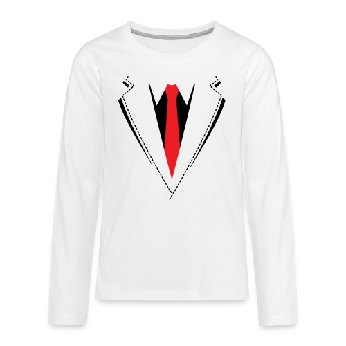 Vlinderdas of stropdas kostuum. - Teenager Premium shirt met lange mouwen