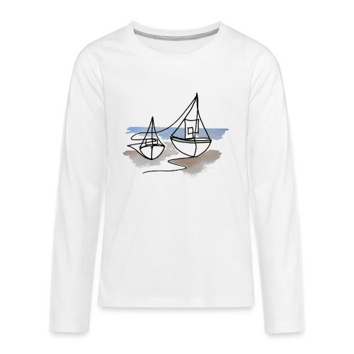 Fiskerbåde 3 - Teenager premium T-shirt med lange ærmer