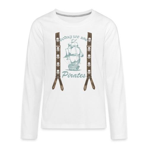 Piraten,Totenkopf, Hosenträger - Teenager Premium Langarmshirt