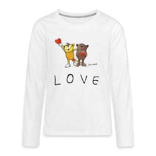 Janosch LOVE Schiftzug Tiger und Bär - Teenager Premium Langarmshirt