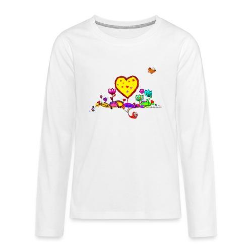 Blumengruß mit Herz - Teenager Premium Langarmshirt