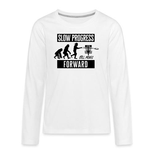 Disc golf - Slow progress - Black - Teinien premium pitkähihainen t-paita