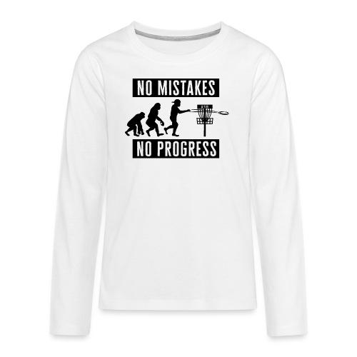 Disc golf - No mistakes, no progress - Black - Teinien premium pitkähihainen t-paita