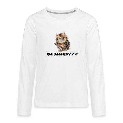 No block kitten - Premium langermet T-skjorte for tenåringer
