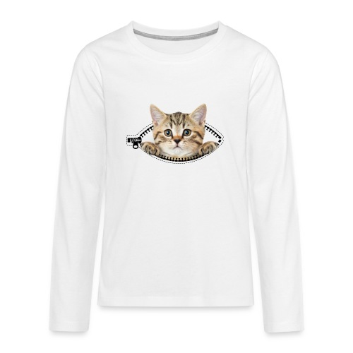 Vorschau: cat zipper pocket - Teenager Premium Langarmshirt