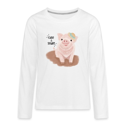 Cute & Smart Pig - Teenagers' Premium Longsleeve Shirt