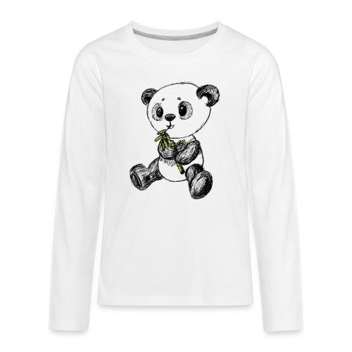 Panda Karhu värillinen scribblesirii - Teinien premium pitkähihainen t-paita
