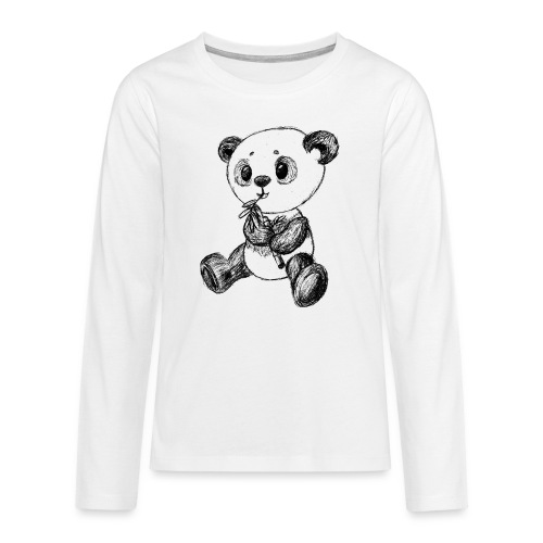 Panda Karhu musta scribblesirii - Teinien premium pitkähihainen t-paita