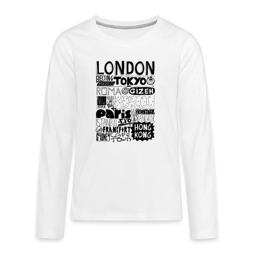 Villes du monde - T-shirt manches longues Premium Ado