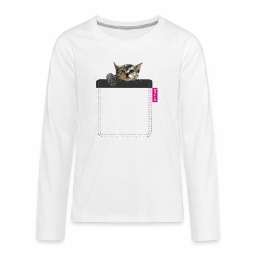Kätzchen in Brusttasche - Teenager Premium Langarmshirt