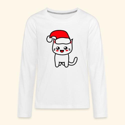 Kawaii Kitteh Christmashat - Teenager Premium Langarmshirt