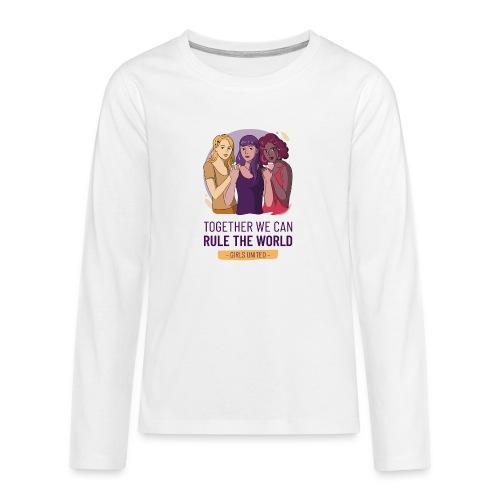 t shirt design generator featuring three women - Camiseta de manga larga premium adolescente