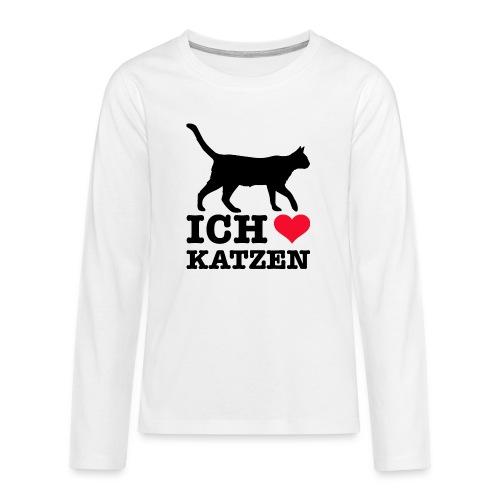 Ich liebe Katzen mit Katzen-Silhouette - Teenager Premium Langarmshirt