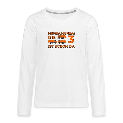 Trzecie urodziny śmieciarka - Koszulka Premium z długim rękawem dla nastolatków